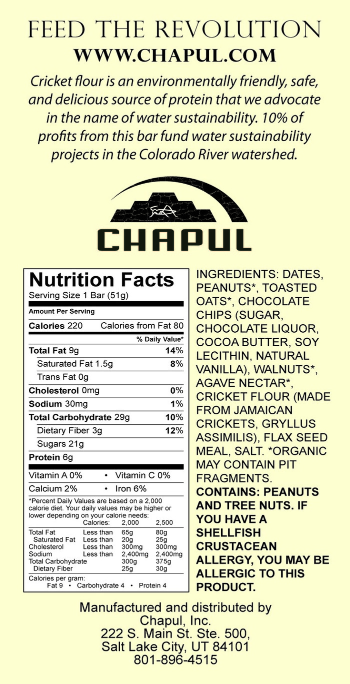 Chaco Bar -- nutritional panel
