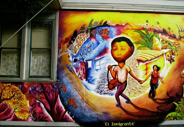 El Inmigrante Mural by Joel Bergner at Shotwell & 23rd St., San Francisco