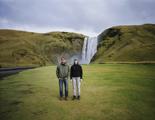 Paul and Lindsay at Skógafoss Waterfall in southern Iceland.