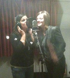 Michelle and Hannah Miller working on demo vocals