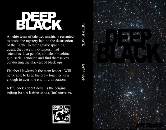 The front and back covers of the Deep Black Novel