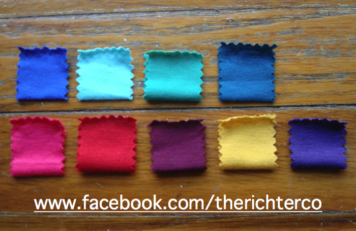 1st Row: Blue, Mint Green, Green, Teal 2nd Row: Pink, Red, Bordeaux, Mustard, Purple