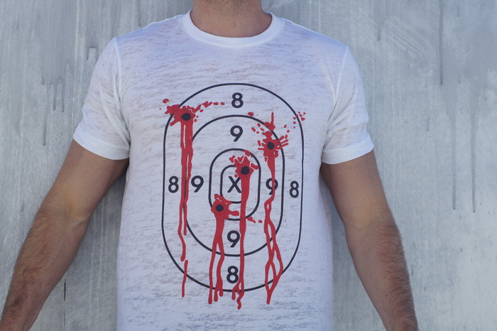Target Practice. You thought you were fast until you took 4 to the chest. Shirt in the image is white burnout.