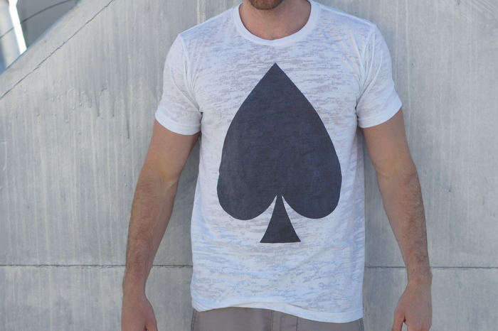 Automatik of Spades. Oversized spade image on a burnout shirt.