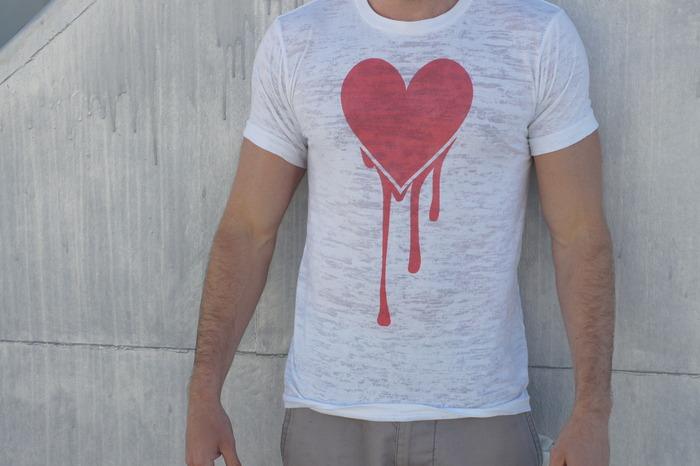 Automatik of Hearts. A bleeding heart image on a burnout shirt.