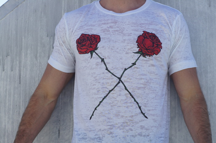 X-Roses. Wear two roses on your chest without worrying about getting cut by the thorns. Shirt in the picture is white burnout.
