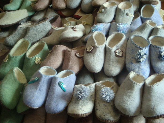 Mongolian felted slippers