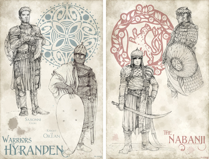 Nabani and Warriors of Hyranden: Saxonni Ceorl and Orean Knight