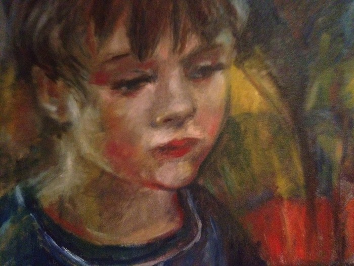 "Portrait of Alex(at 4 years old), oil on canvas 18"" x 24"""