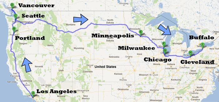 Our planned route. Join us along the way! We want to hear your story. You might even end up in the film.