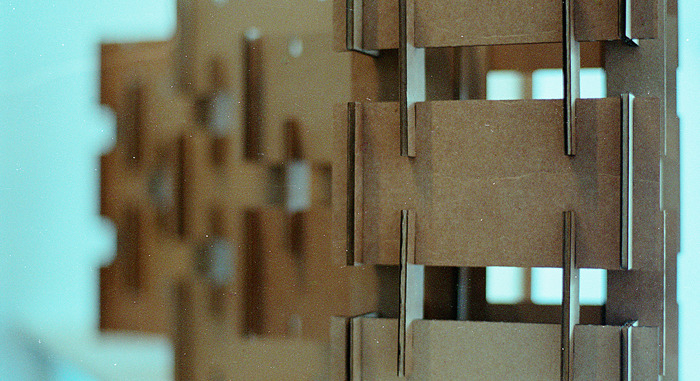 A cardboard model of the Modular22 structure.