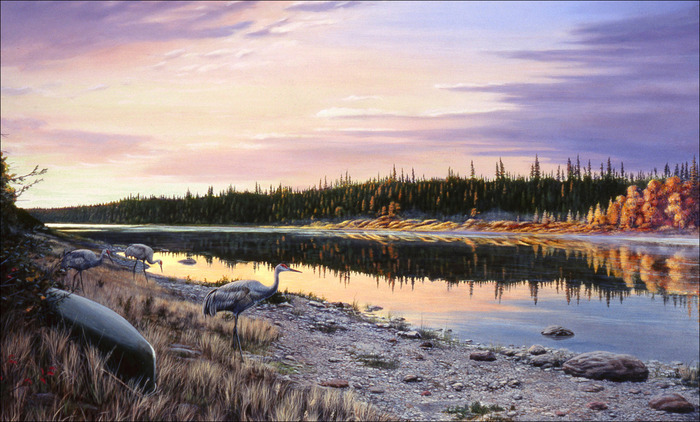 """First Light"" Missinaibi River south of James Bay 9/11/01 - Acrylic, Mullen"