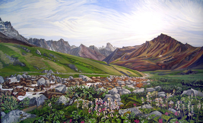 """Flowers in the Foreground"" Angiaak Pass, Oil - Brody"