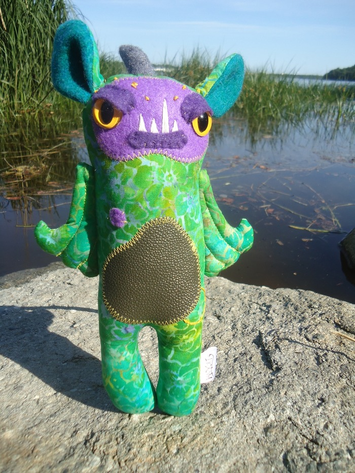 "Our Kickstarter exclusive monster plush, Orin! He stands almost 11"" tall."
