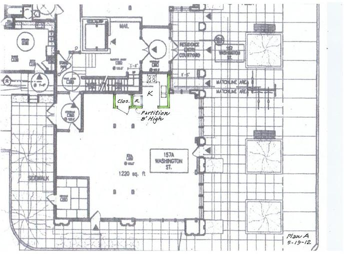 Plan for space at 157 Washington Street