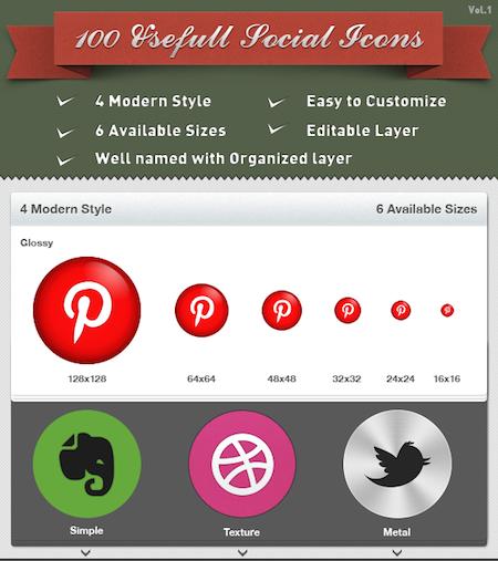 100 social media icons
