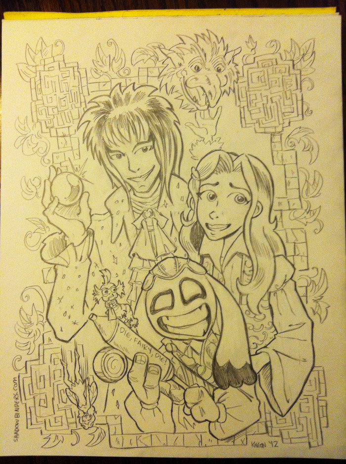 "Dance, Magic, Dance! Rhen, Mia and Winston in LABYRINTH! This one-of-a-kind original fan art can be yours by backing the $75 ""Labyrinth Tier"""