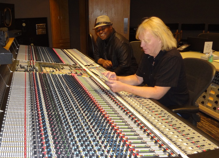 Recording with Charlie Paakarri in Studio A at Capitol. Charlie has won 3 Grammy Awards and has been with Capitol for 30 years. June 2012