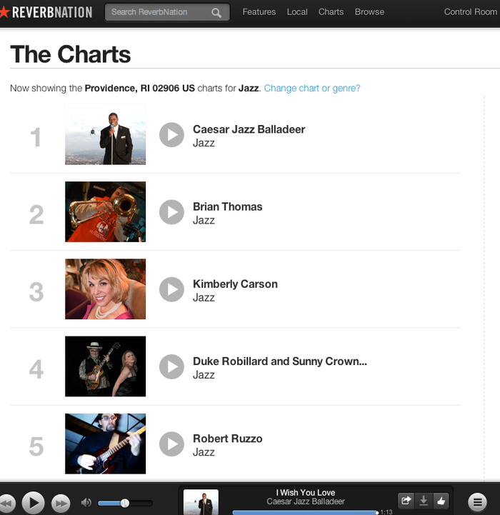 Ranked as the #1 Jazz Artist in Providence on Reverbnation/Facebook