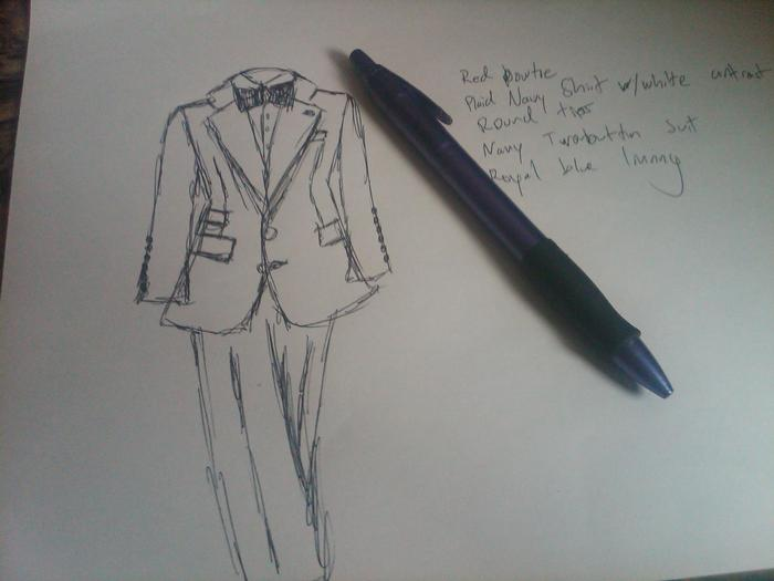 Claude Michelle suit sketch
