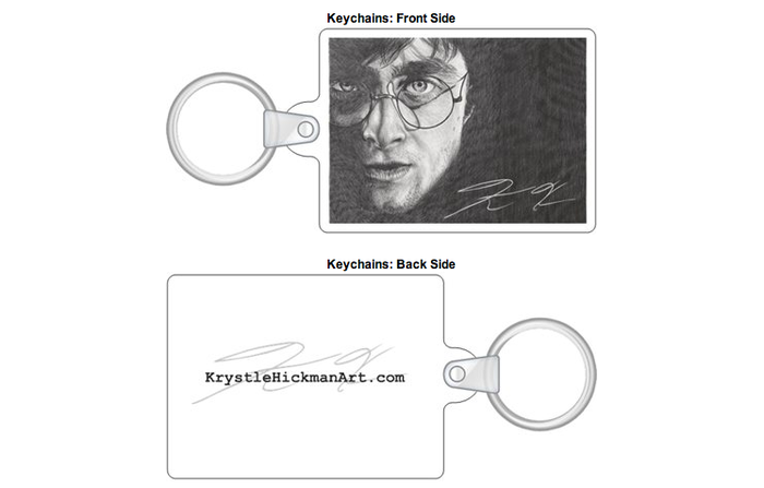 Keychains are available with The Dark Knight Rises, Harry Potter, Zoe Saldana or Friends artwork.