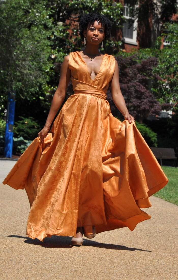 Spring 2013 Collection Choice #1:  Floor length gold dress with plunge neckline