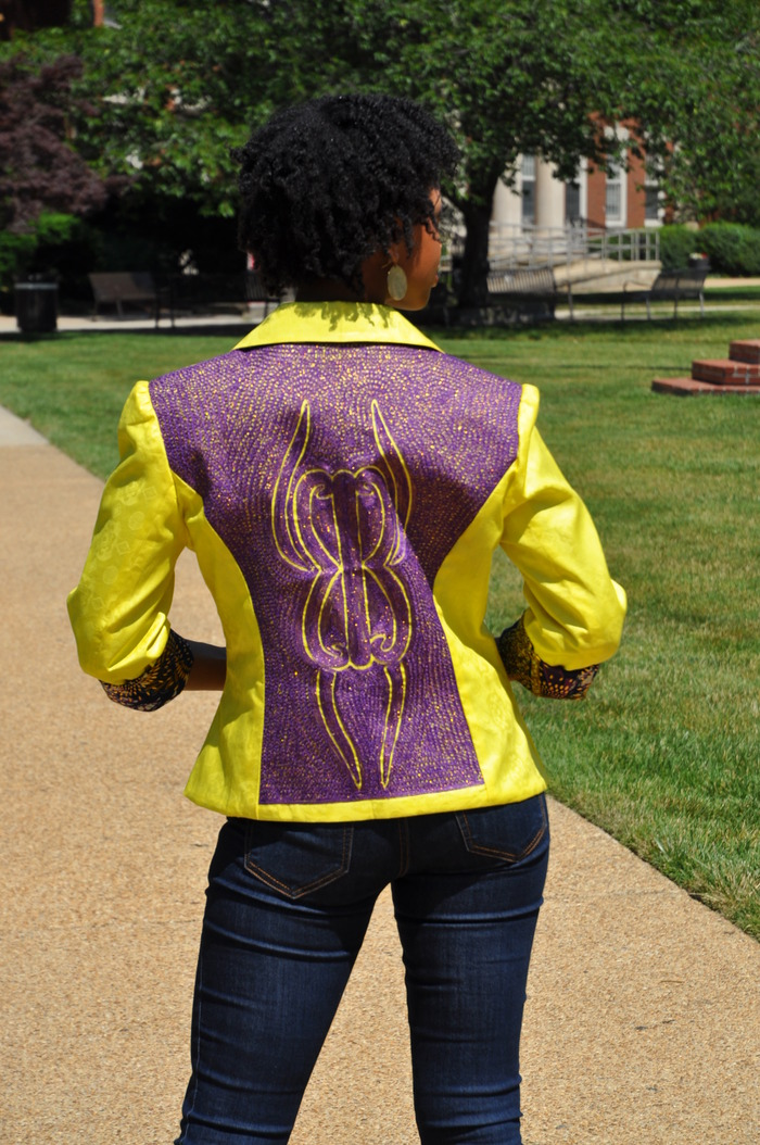Spring 2013 Collection Choice #2:  Purple and yellow blazer with sleeves that can be worn straight or cuffed.  Please note that this blazer will be available in an equally beautiful fabric!