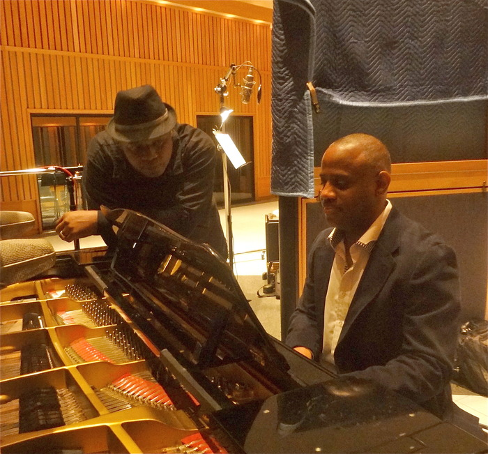 "Kevin Flournoy on my recording session in Studio A at Capitol playing on the Steinway piano Nat ""King"" Cole used in the 1950's. Over my left shoulder, the mic that Nat used in the 50's"