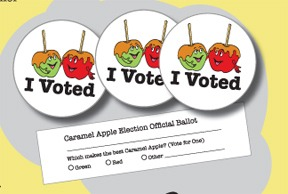 "Caramel Apple ""I Voted"" Stickers and Ballots"