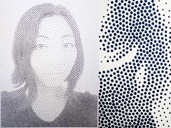 "$75-- A plotter-drawn dot print from your photo of choice. 14"" X 20"", drawn with archival ink on 2-ply coldpressed paper. See in the closeup how it's ink pen drawn on paper, for true '80s grade technological beauty."