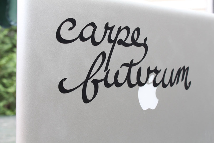 "$7 pledge-- Vinyl ""Carpe Futurum"" stickers. We'll give you 2, for twice the future forward optimism. Add $5 for international shipping."