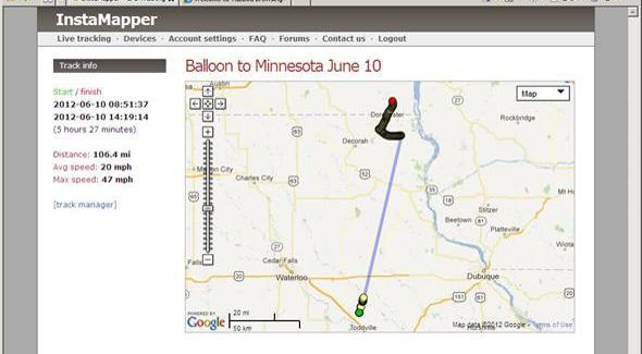 Flight path from Boost Mobile GPS (all the way to Minnesota!)