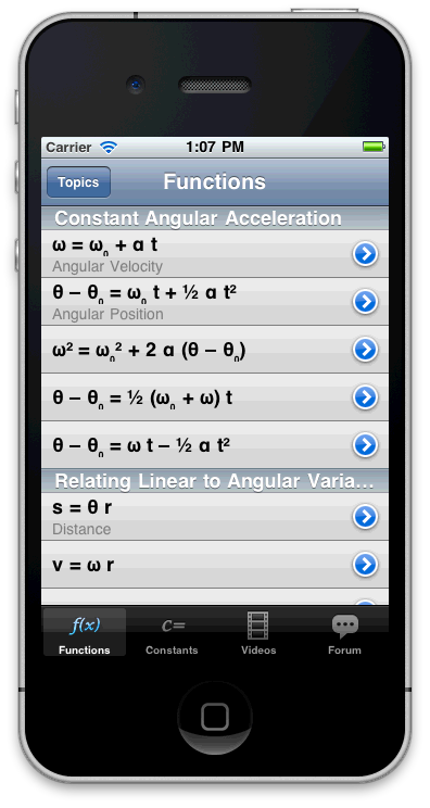 The Functions page from our iPhone app.  Won't this look better on an iPad?