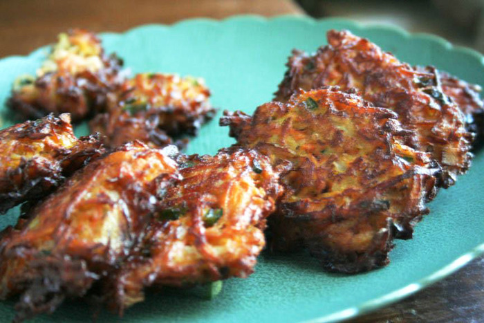 Sweet potato and white kimchi fritters, fried to perfection