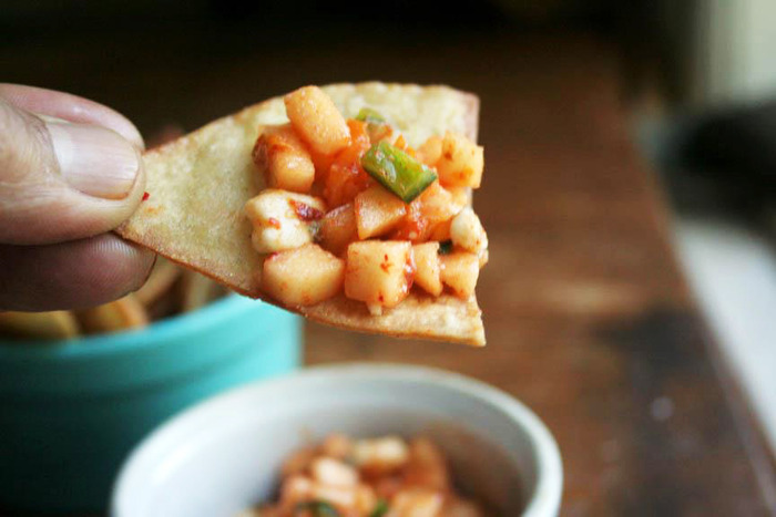 Kimchi and green apple salsa with home-made tortilla chips
