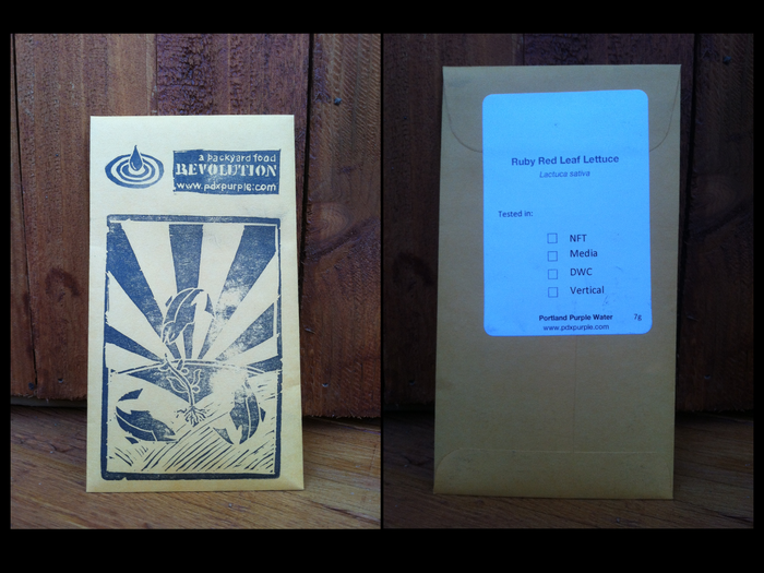 Seed Packet- hand stamped with the Aquaponic Revolution logo. Aquaponically tested varieties.