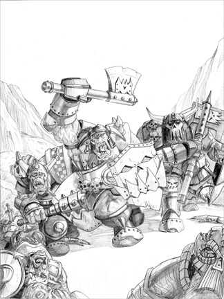 Orc Charge for Warhammer Invasion by Sam Flegal