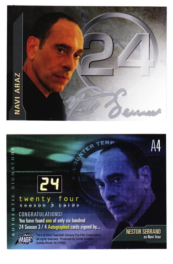 """24"" TV series autographed trading card: Nestor Serrano"