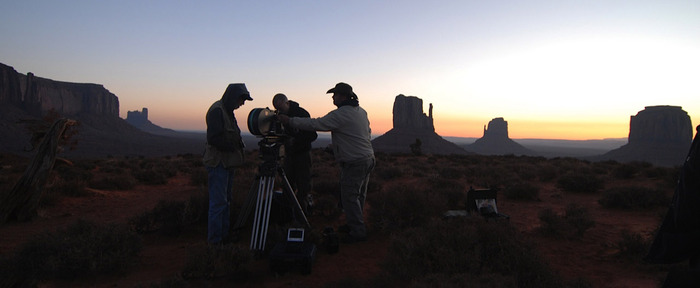 DILL PRODUCTIONS CREW  ---  SUNRISE AT MONUMENT VALLEY,  UT
