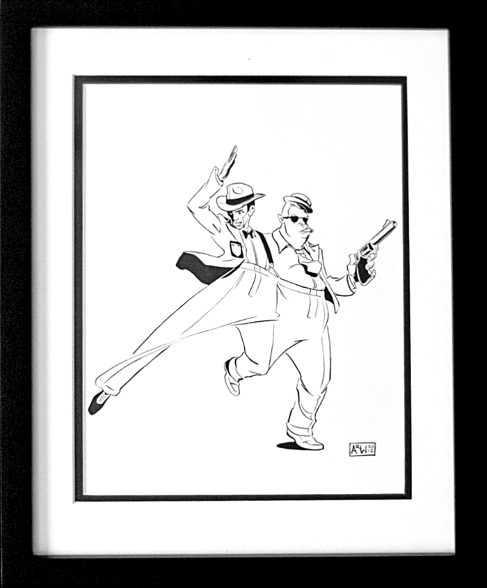 (Sample one-of-a-kind Two-Headed Cop artwork. Each inked drawing will be unique.)