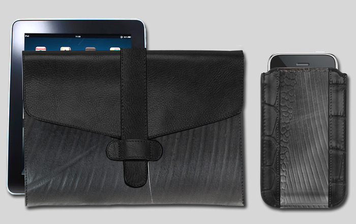 iPad Sleeve & iPhone Sleeve - Available in black, brown or red leather trim. Ipad sleeve is 10'' wide x 8.25'' high.  iPhone sleeve is 3.5'' wide x 5'' high