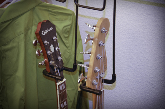 Shown Above: An acoustic guitar and electric bass stored neatly in the closet