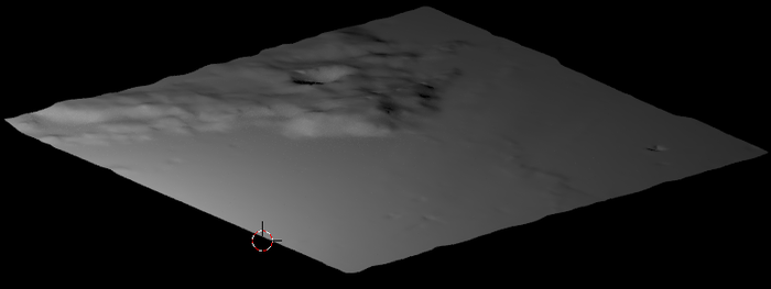 Terrain model from LRO radar altimeter data contributed by Allen Ecker