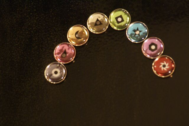 Auxiliary PennyGems in sequence: gray, pink, peach, champagne, chartreuse, cyan, lavender, brown