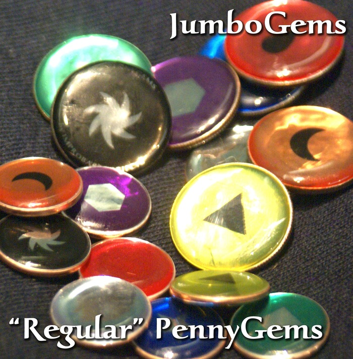JumboGems, with 'regular' PennyGems for comparison