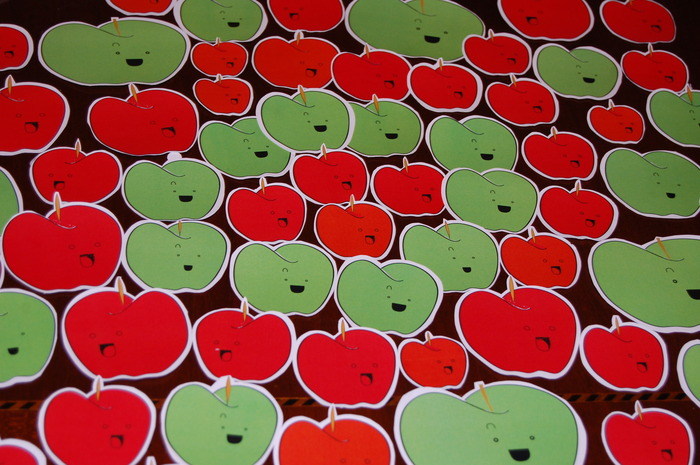 An example of some homemade apple stickers :D