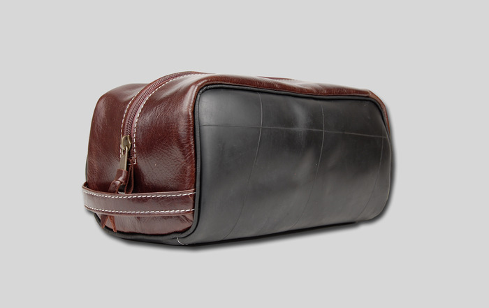 Shaving Bag - Available in black or brown leather trim. 10'' wide x 5'' high x 6'' deep