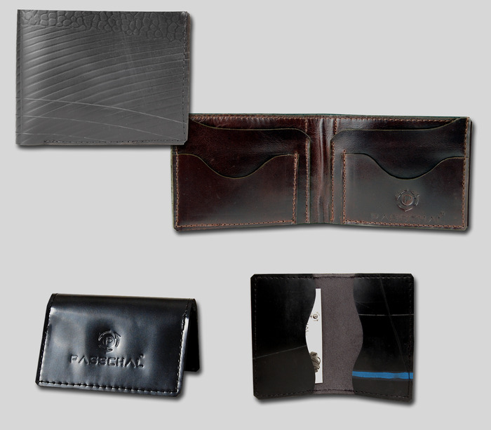 Credit Card Holder & Men's Wallet - Credit Card Holder available in black or red patent leather trim. Men's Wallet available in black or brown leather trim.