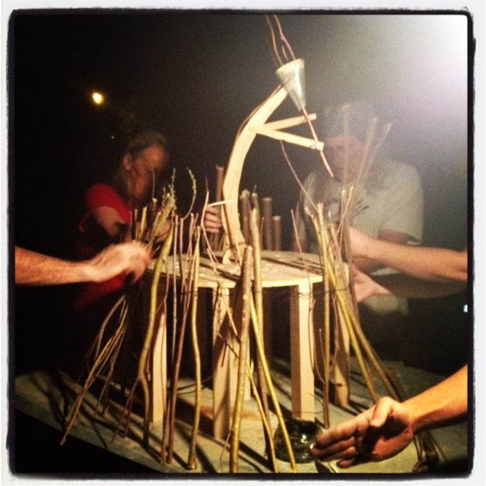 Our Crew Building Kokopelli1.0, the 1/10th Scale Version of Our Project