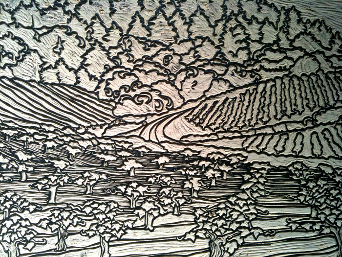 Detail of Linocut Carving